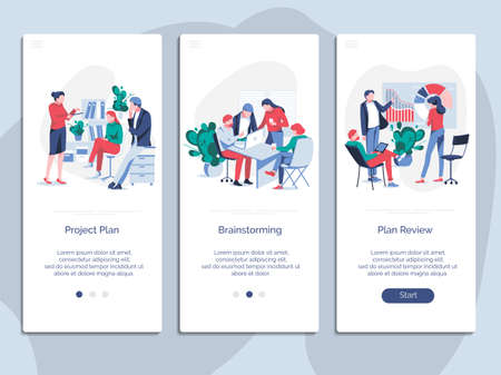 Team work onboarding mobile app page screen set. Project, brainstorming, plan review. Team building, teamwork, cooperation or partnership concept flat vector illustration
