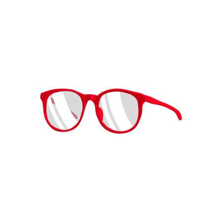 Eye glasses accessory. Round red rimmed fashion female eyewear cartoon vector illustration isolated on white background  イラスト・ベクター素材