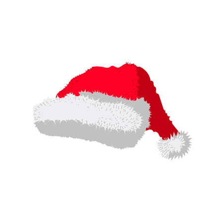 Santa Christmas or New Year hat. Red fluffy cap, holiday accessory garment cartoon vector illustration isolated on white background  イラスト・ベクター素材