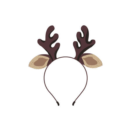 Headband with deer horns. Christmas reindeer rim, head decor accessory for party, holiday or carnival celebration cartoon vector illustration isolated on white background