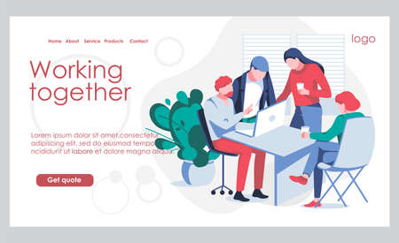 Working together landing page template. Business team working on project together. Team building, teamwork, cooperation or partnership concept flat vector illustration  イラスト・ベクター素材