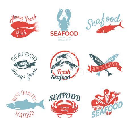 Best quality seafood  design set. Fish shop, market, restaurant label templates design. Always fresh fish badges, premium quality seafood emblems vector illustration