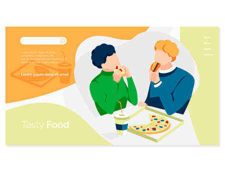 Tasty food landing page. People enjoying of eating traditional fastfood dishes. Online food ordering and express delivery service website or mobile app flat vector illustration  イラスト・ベクター素材