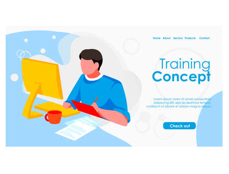 Training concept landing page template. Guy student sitting in front of computer screen studying online. E-learning, distant tutor, distant school, course. Online education flat vector illustration
