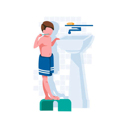Boy brushing her teeth in bathroom. Child taking care of dental health with toothbrush and toothpaste. Oral hygiene and daily routine concept cartoon style vector illustration
