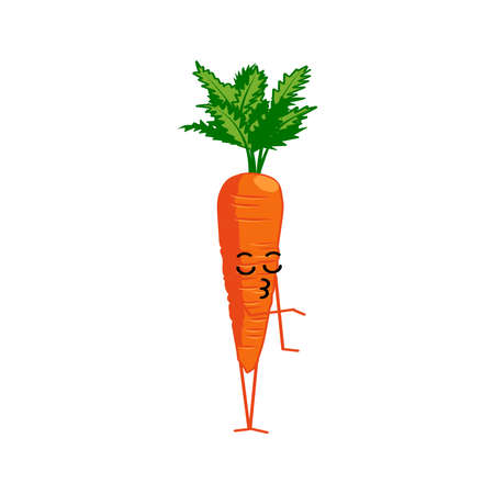 Cute carrot cartoon character. Kawaii vitamin vegetable with funny face. Natural vegetarian food emoticon. Healthy eating concept vector illustration on white background