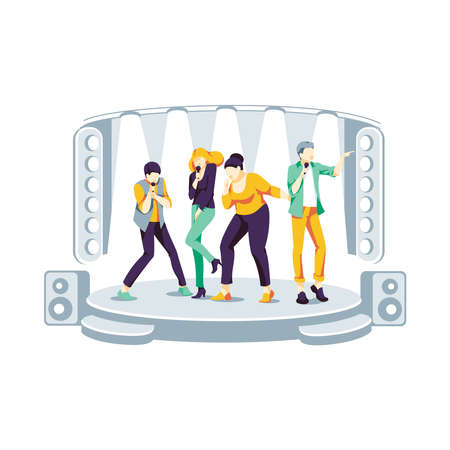 People singing on stage. Friends dancing and singing at karaoke bar or night club. Group of teenagers or music band performing with microphones at concert flat vector illustration on white background