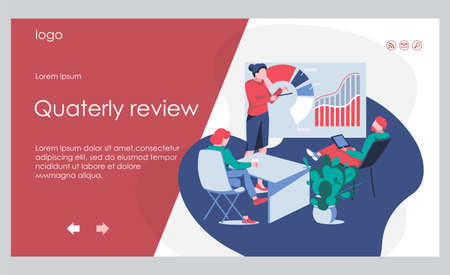 Kpi review banner template. Business team working together studying the infographic to measure achievement versus planned target. Key Performance Indicator concept flat vector illustration