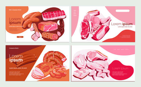 Meat products landing page template set. Butchery shop fresh meat assortment of butchery shop, online store website, homepage. Food market or delivery service design vector illustration