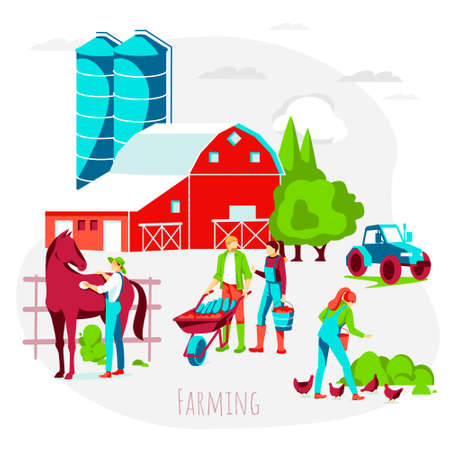 People doing farming activities. Farmers working on farm, taking care and feeding of livestock animals. Organic agricultural industry concept flat vector illustration