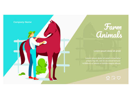 Farm animals landing page. Male farmer taking care of horse animal on farmyard. Eco farming and agricultural industry website, homepage flat vector illustration