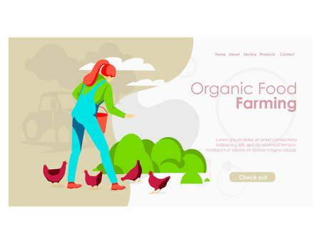 Organic food farming landing page. Woman farmer feeding chickens and taking care of poultry on farmyard. Eco farming, aviculture and agricultural industry website, homepage flat vector illustration  イラスト・ベクター素材