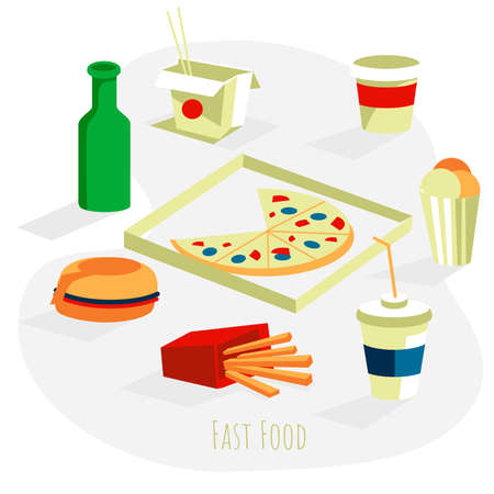 Traditional fast food dishes set. Hamburger, pizza, french fries, noodles wok in paper box, coffee and soda drinks. Restaurant or cafe menu design, food delivery service flat vector illustration