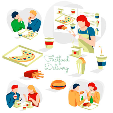 Fast food delivery service. People choosing, buying and eating traditional fast food dishes. Online meal ordering and express delivery service flat vector illustration  イラスト・ベクター素材