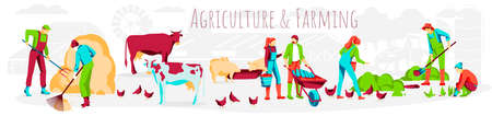 Agriculture and farming banner. Farmers working on farm, taking care of farm animals, growing plants. Livestock and poultry breeding, organic agricultural industry concept flat vector illustration