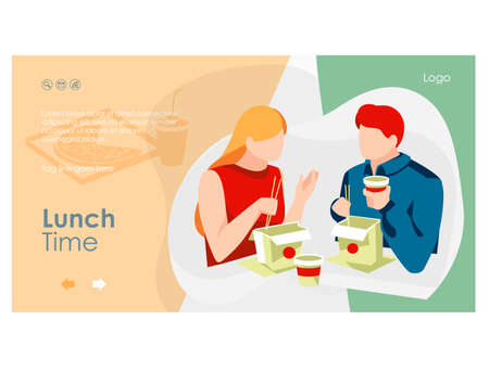 Lunch time landing page. Young couple sitting at table with takeaway wok boxes and paper coffee cups, People eating Asian traditional meal dishes flat vector illustration