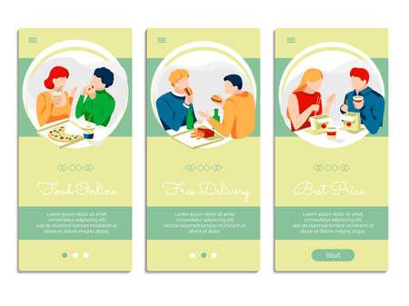 Food online mobile app onboarding screens set. People eating fast food dishes together. Ordering online, free delivery, best price mobile application design flat vector illustration