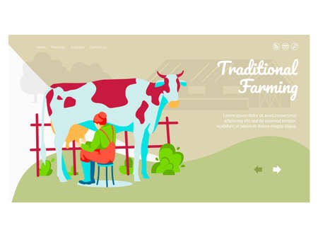 Traditional farming landing page. Milkmaid milking cow livestock animal on farmyard. Eco farming and agricultural industry website, homepage flat vector illustration