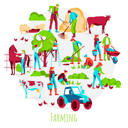 Farming banner template. Farmers working and harvesting in garden, taking care of animals. Organic gardening, eco farming and agriculture concept flat vector illustration