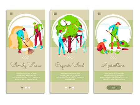 Farming people mobile app onboarding screens set. Family farm, organic food landing page templates. Organic gardening, eco farming and agricultural industry concept flat vector illustration