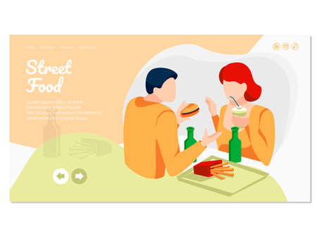 Street food landing page. Young couple eating fastfood dishes and drinking soda drinks. Online food ordering and express delivery service website or mobile app flat vector illustration