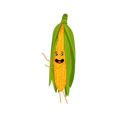 Cute corn cob cartoon character. Kawaii corncob vegetable with funny smiling face, arms and legs. Natural vegetarian food emoticon. Healthy eating concept vector illustration on white background
