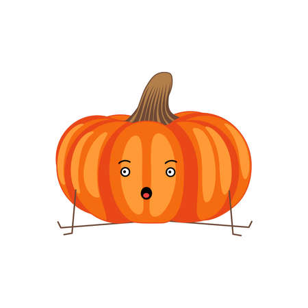 Cute pumpkin cartoon character. Kawaii vegetable with funny face, arms and legs. Natural vegetarian food emoticon. Healthy eating concept vector illustration on white background  イラスト・ベクター素材