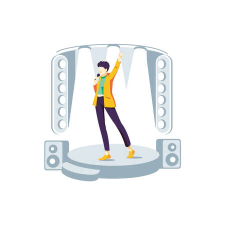 Popular singer performing on stage. Guy singing song at karaoke bar, night club or live concert with microphone. Vocalist participating in talent show flat vector illustration on white background 向量圖像