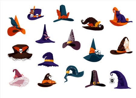 Witch hats collection. Creepy wizards headgears of of different colors with buckles. Halloween holiday symbols set cartoon vector illustration