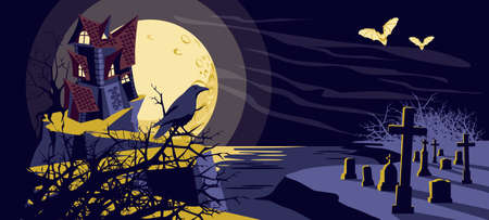 Halloween mystical background. Old scary haunted house on graveyard, raven and flying bats at moonlight night. Happy Halloween banner vector illustration  イラスト・ベクター素材