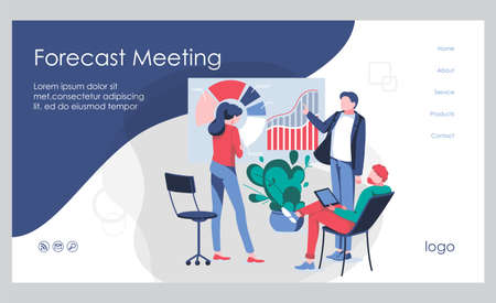 Kpi review banner template. Business team working together studying the infographic to measure achievement versus planned target. Key Performance Indicator concept flat vector illustration  イラスト・ベクター素材