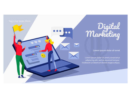 Digital marketing landing page template. Business team working on business content strategy. Website advertising and promotion, e-commerce campaign flat vector illustration flat vector illustration