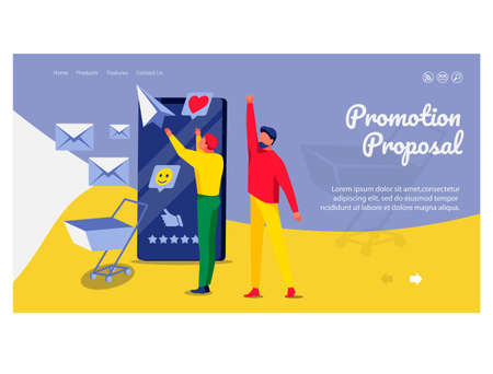 Promotion proposal landing page template. Business team working on business content strategy. Website advertising, promotion, e-commerce technologies flat vector illustration flat vector illustration 向量圖像