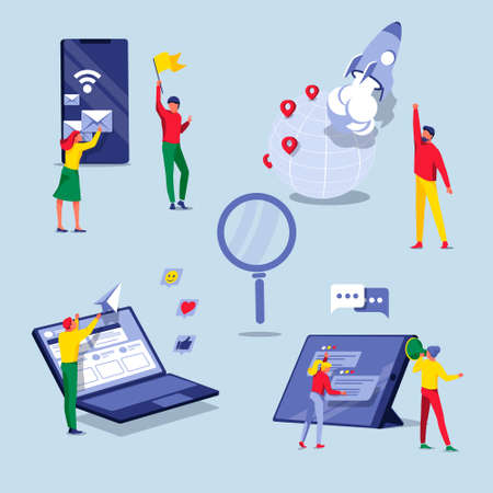 Digital marketing set. People working on business content strategy. Business analysis, advertising, promotion, e-commerce technologies concept flat vector illustration flat vector illustration  イラスト・ベクター素材