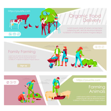 Organic food delivery landing page templates set. Couple working together. Family farming, livestock breeding. Eco farming and agricultural industry website, homepage flat vector illustration