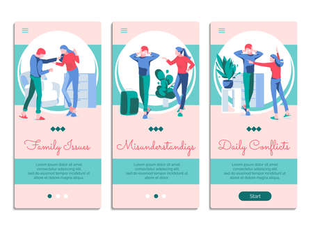 Family conflicts mobile app onboarding screens set. Family issues, misunderstanding, daily conflict website or web page templates. Relationship breakup, divorce concept flat vector illustration Illustration