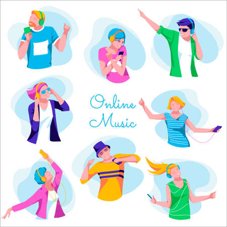 Stylish young people listening to music. Premium music service banner. Cheerful girls and guys listening music with headphones and smartphones, dancing and relaxing flat vector illustration
