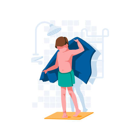 Boy Drying Himself with Towel after Shower. Child wiping water from his body. Body care hygiene and daily routine activity concept cartoon style vector illustration