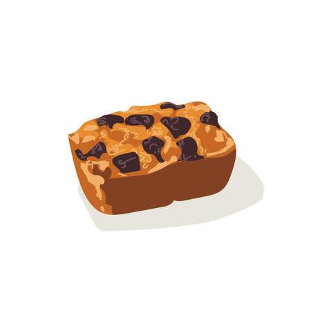 Raisin fruitcake dessert. Freshly baked sweet pastry, confectionery product flat vector illustration on white background