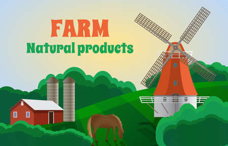 Natural farm products banner template. Summer rural landscape with windmill, silo tower, farm house and grazing horse. Agriculture and eco farming concept vector illustration