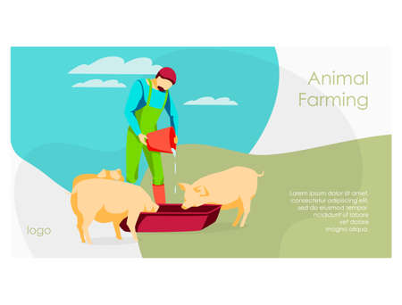 Animal farmer landing page. Male famer feeding pigs pouring water in trough. ivestock agricultural industry. Eco farming and agriculture concept flat vector illustration