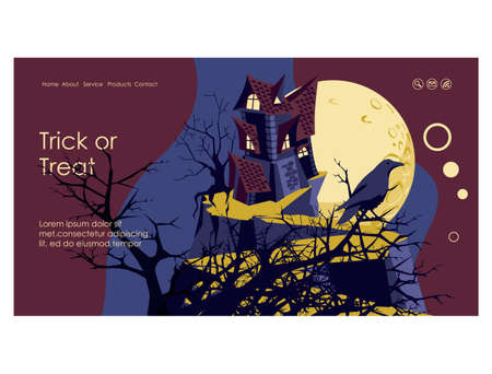 Halloween invitation banner. Happy Halloween night event party, festival template with graveyard and gravestone at moonlight cartoon vector illustration