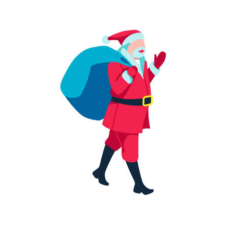 Santa Claus carrying sack full of gifts. Father Frost Christmas character, Merry Christmas and Happy New Year concept cartoon vector illustration Illusztráció