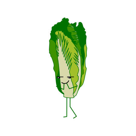 Cute lettuce cartoon character. Kawaii vegetable with funny face. Natural vegetarian food emoticon. Healthy eating concept vector illustration on white background
