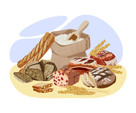 Freshly baked bread. Full sack bag of flour, wheat ears, rustic bread and patisserie assortment. Natural organic healthy products. Bakery, bake shop design flat vector illustration Ilustração
