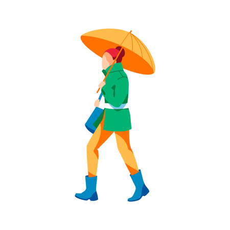 Woman walking under umbrella in rainy day. Autumn or spring weather season, rainy day. Female person spending time on nature flat vector illustration