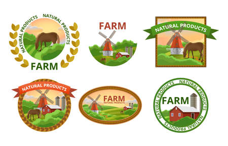 Natural farm products labels set. Healthy organic farm fresh food stickers with rural landscapes and farm buildings. Natural, eco, bio products badges flat vector illustration.