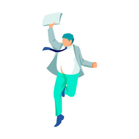 Happy teenage boy jumping in air. Positive excited guy in suit celebrating success and victory, rejoicing freedom. Happiness, rejoice and fun concept cartoon vector illustration on white background Vetores