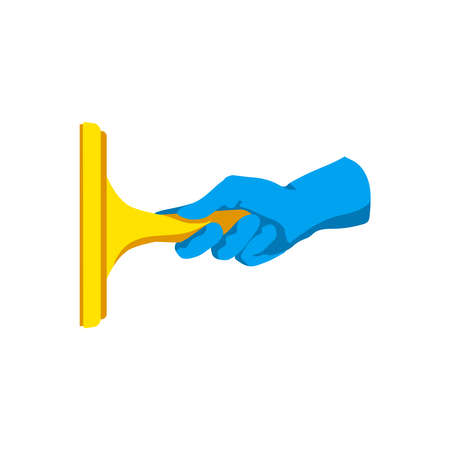 Hand holding squeegee. Human hand in blue rubber glove cleaning window. Cleaning service, housework, hygiene cleanup chores concept cartoon vector illustration isolated on white background