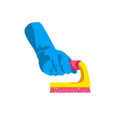 Hand holding brush. Human hand in blue rubber glove with cleaning tool. Cleaning service, housework, hygiene cleanup chores concept cartoon vector illustration isolated on white background